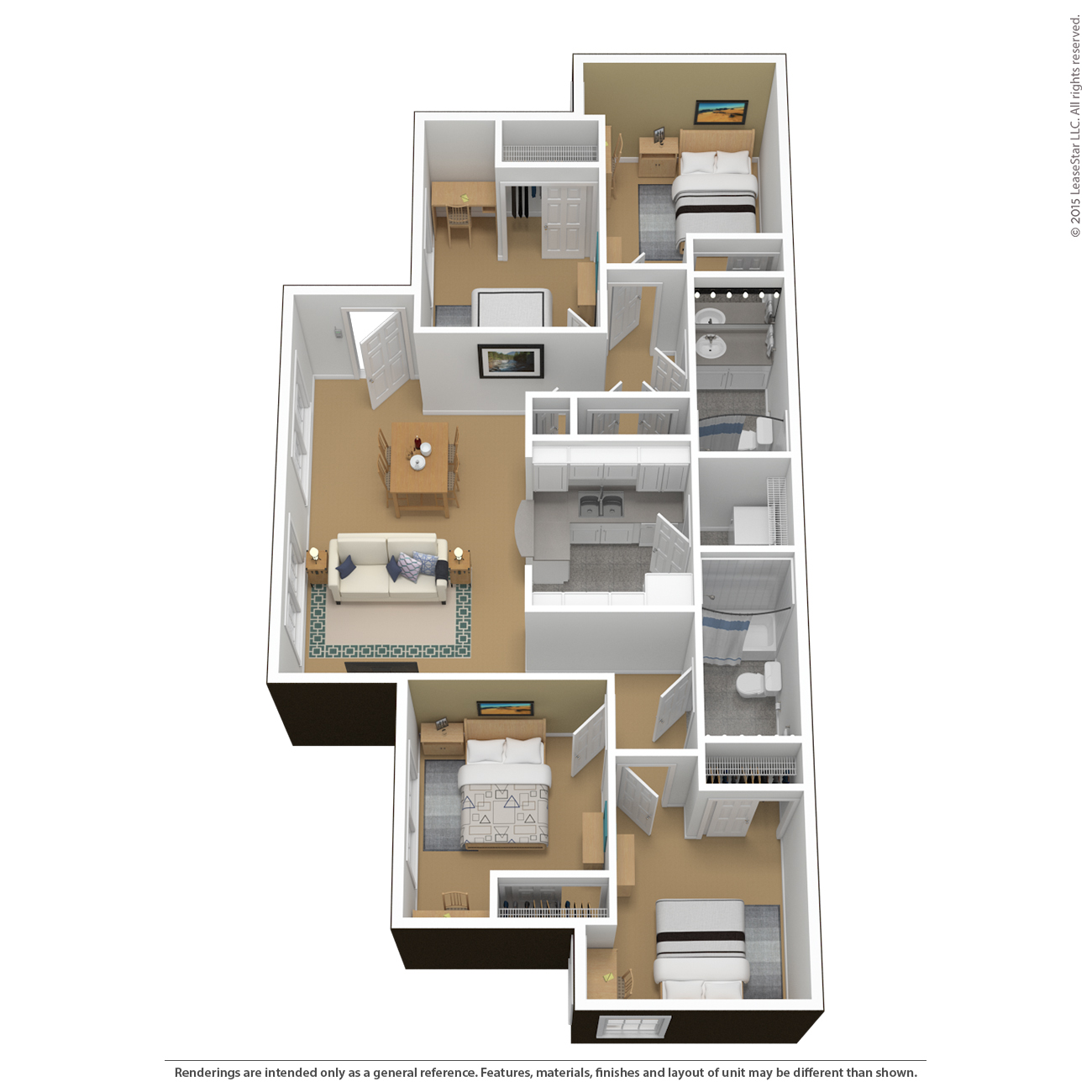 CTY 4 Bedroom 2 Bathroom   furnished. Floor Plans   Virtual Tours   The Courtyards